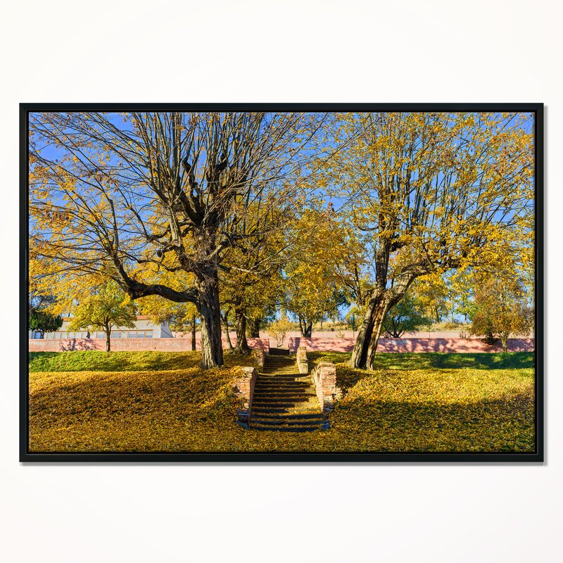 East Urban Home Stone Stairs In Park In Fall Framed Photographic Print On Wrapped Canvas Wayfair