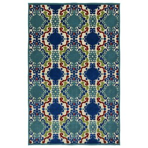 Lewis Machine Woven Turquoise Indoor/Outdoor Area Rug