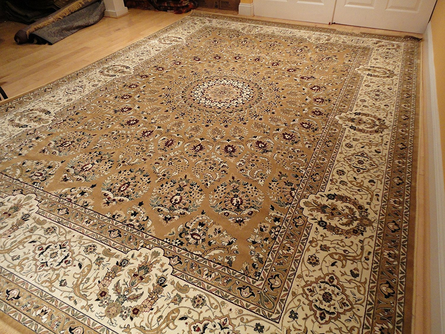 Shanelle Living Room Hand-Knotted Silk Brown Area Rug