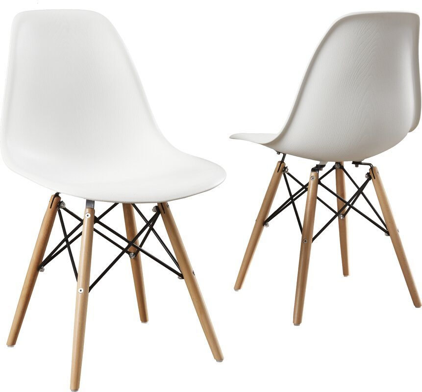 Modern Retro Eames Style White Dining Chair Set of 2 #Eames #modern #diningchair #retrochair