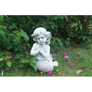 Hattie Mermaid Kneeling Holding Shell Statue