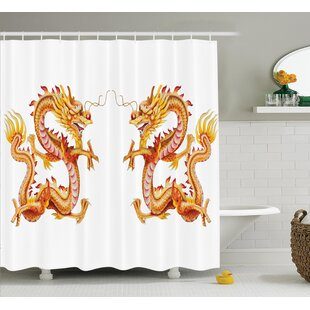 Yolanda Dragon Twin Fire Dragon Zodiac Statues Traditional Asian Art Chinese Themed Picture Print Single Shower Curtain