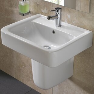 Comparison Renova Vitreous China 22 Semi Pedestal Bathroom Sink with Overflow By Bissonnet