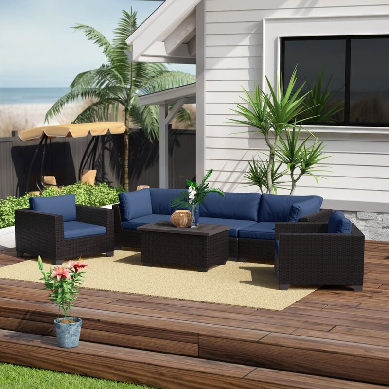 Sol 72 Outdoor Fernando 6 Piece Sofa Seating Group with Cushions