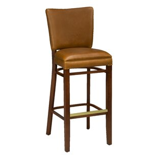 Chesebrough Beechwood Upholstered Seat Bar Stool Loon Peak
