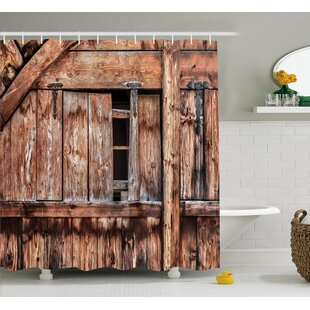 Rustic Oak Abandoned Barn Door Shower Curtain by East Urban Home