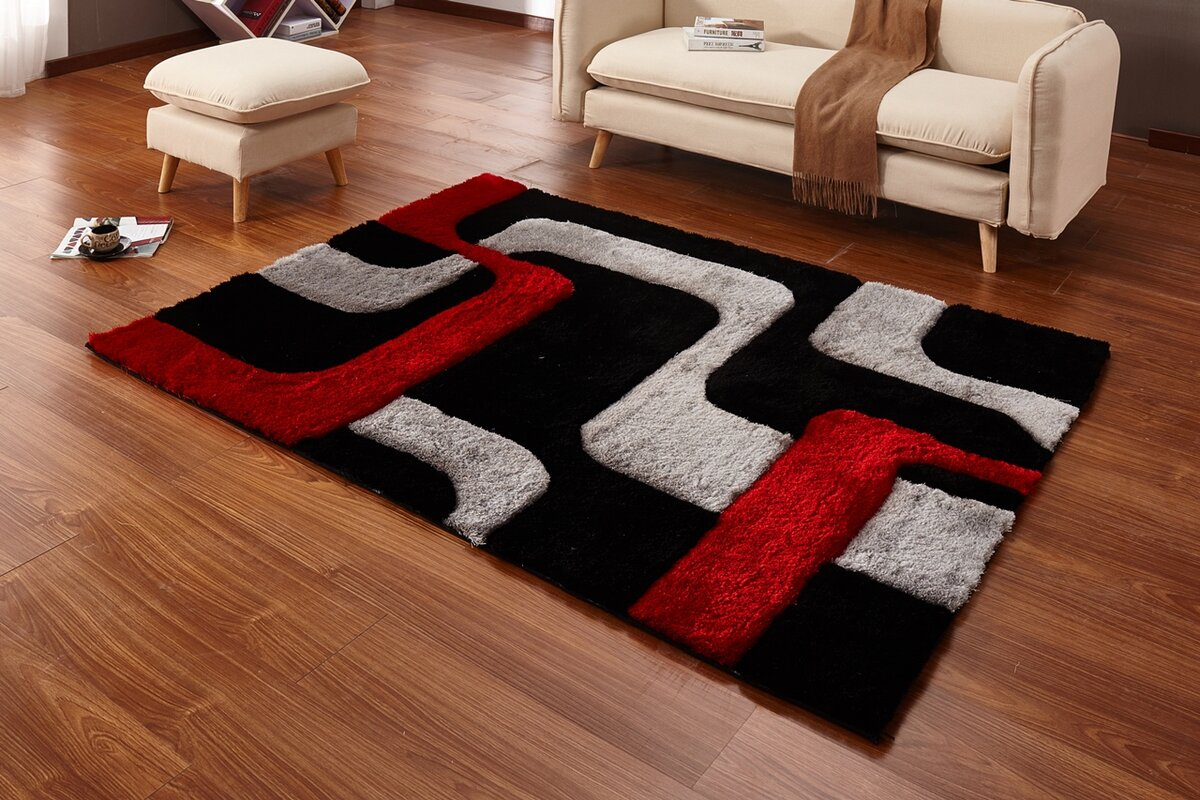 Regina Black Red Gray Area Rug