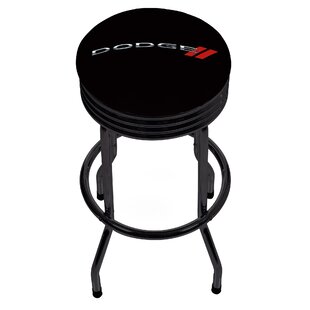 Dodge Logo Ribbed 28.5 Swivel Bar Stool by Trademark Global Designt