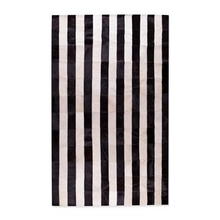 Best Reviews Darshan Stitch Striped Hand-Woven Cowhide Black/White Area Rug By 17 Stories