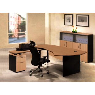 Executive Management 4 Piece L-Shaped Desk Office Suite by OfisELITE 2019 Coupon