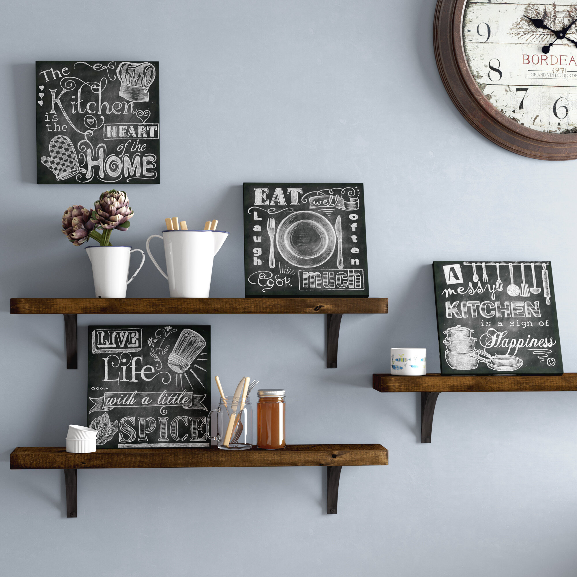 Darby Home Co Beautiful Fun Chalkboard Kitchen Signs Messy Heart Of The Spice Life And Cook Much 4 Piece Picture Frame Textual Art Print Set Reviews Wayfair