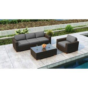 Everly Quinn Glen Ellyn 3 Piece Sofa Set with Sunbrella Cushion