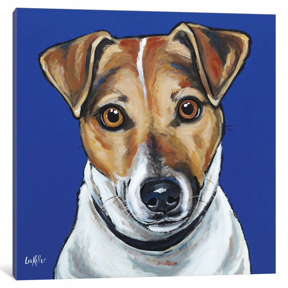 East Urban Home Hippie Hound Studios Jack Russell Buster Painting On Wrapped Canvas Wayfair