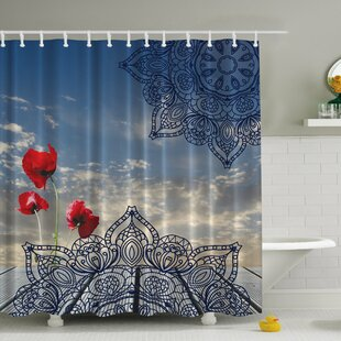 Poppies and the Sky Print Single Shower Curtain