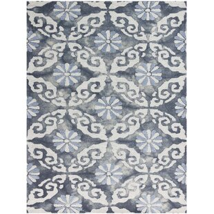 Reviews Bertina Hand Tufted White/Sky Blue/Spruce Blue Area Rug ByBloomsbury Market