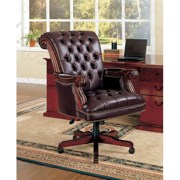 Bsd National Supplies Plush Rolled Back Design Traditional Button Tufted Executive Office Chair With Nailhead Trim Wayfair