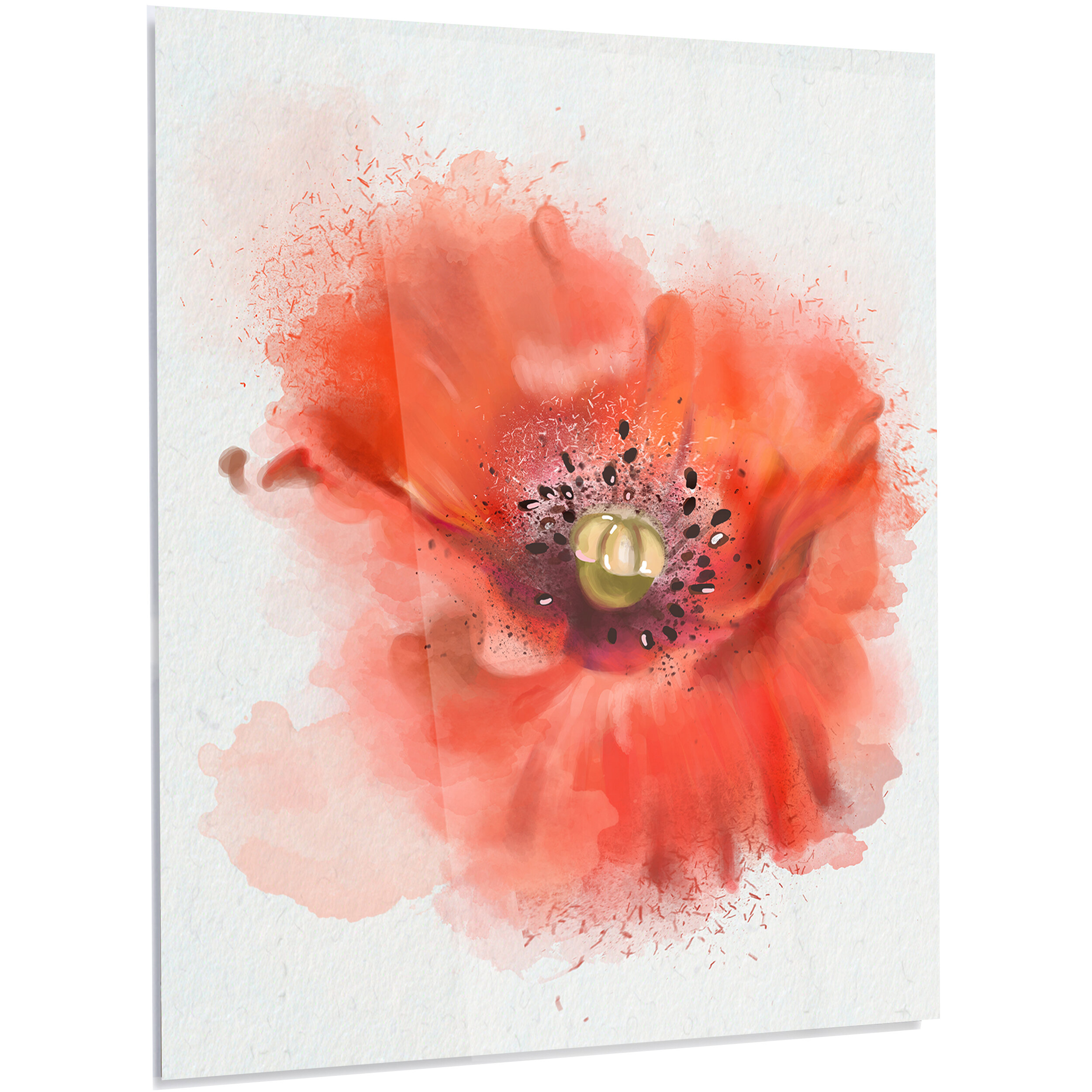 Designart Floral Stylish Red Watercolor Poppy Flower Painting