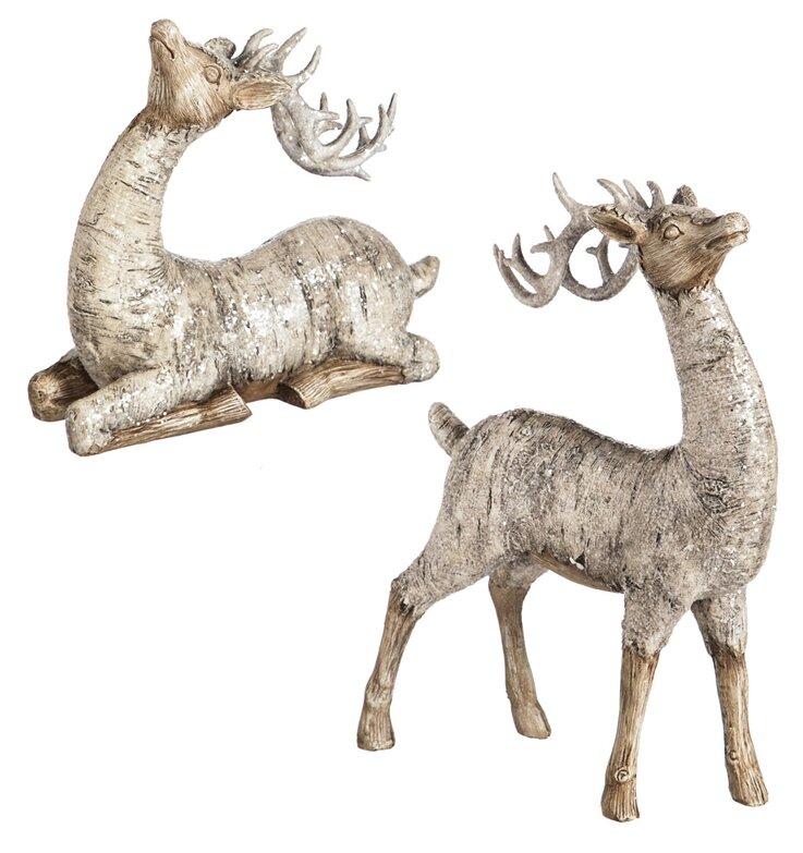 2 Piece Birch Bark Reindeer Décor Set