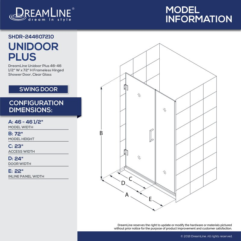Unidoor Plus 72 X 46 5 Hinged Frameless Shower Door With Clearmax Technology