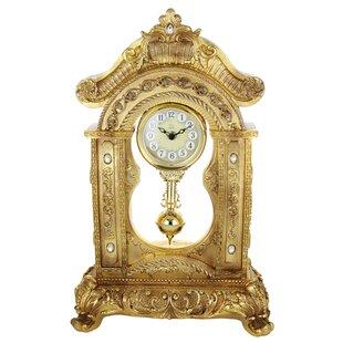 Gold Table Clock W/ Pendulum