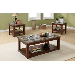 Cannady 3 Piece Wooden Coffee Table Set With Faux Marble Top