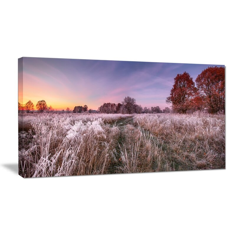 Designart Frosty Fall Trees With Red Leaves Photographic Print On Canvas Wayfair
