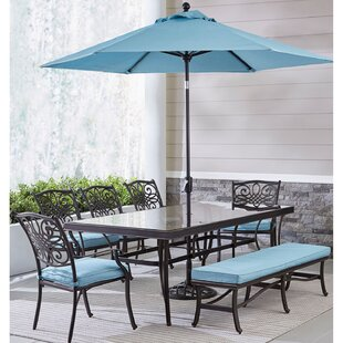 Carleton 7 Piece Dining Set with Umbrella
