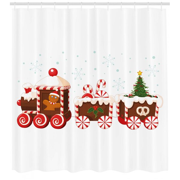 Christmas Candy Train.Christmas Candy Train Single Shower Curtain