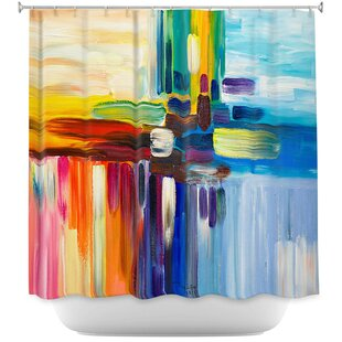 Stripes Rainbow I Single Shower Curtain by East Urban Home Sale