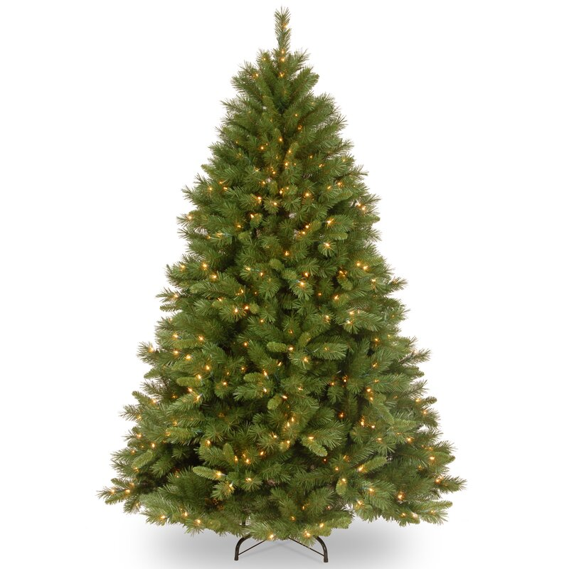 Green Pine Artificial Christmas Tree With Clear White Lights Reviews Joss Main