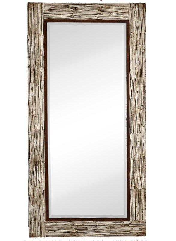 large rectangular white washed wood framed beveled glass mirror