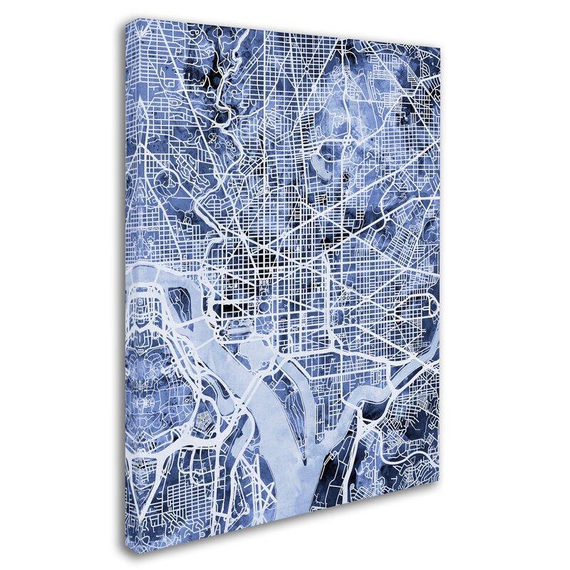 Ivy Bronx Washington Dc Street Map Rectangle Framed Graphic Art On Wrapped Canvas Wayfair