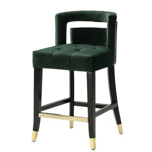 Lunde Velvet Upholstered Nailhead Trim 26 Bar Stool by Mercer41
