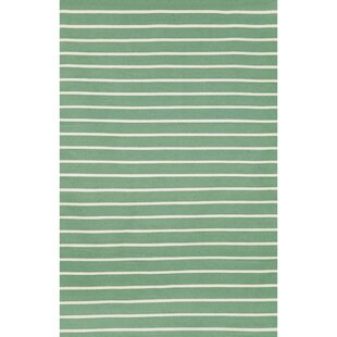 Ranier Pinstripe Hand-Woven Aqua Indoor/Outdoor Area Rug By Beachcrest Home