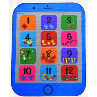 Affordable Jeon Phone Number Power Loomed Blue Area Rug ByZoomie Kids