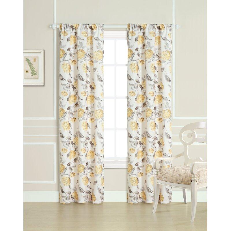 Laura Ashley Hydrangea Floral Room Darkening Curtain Panels