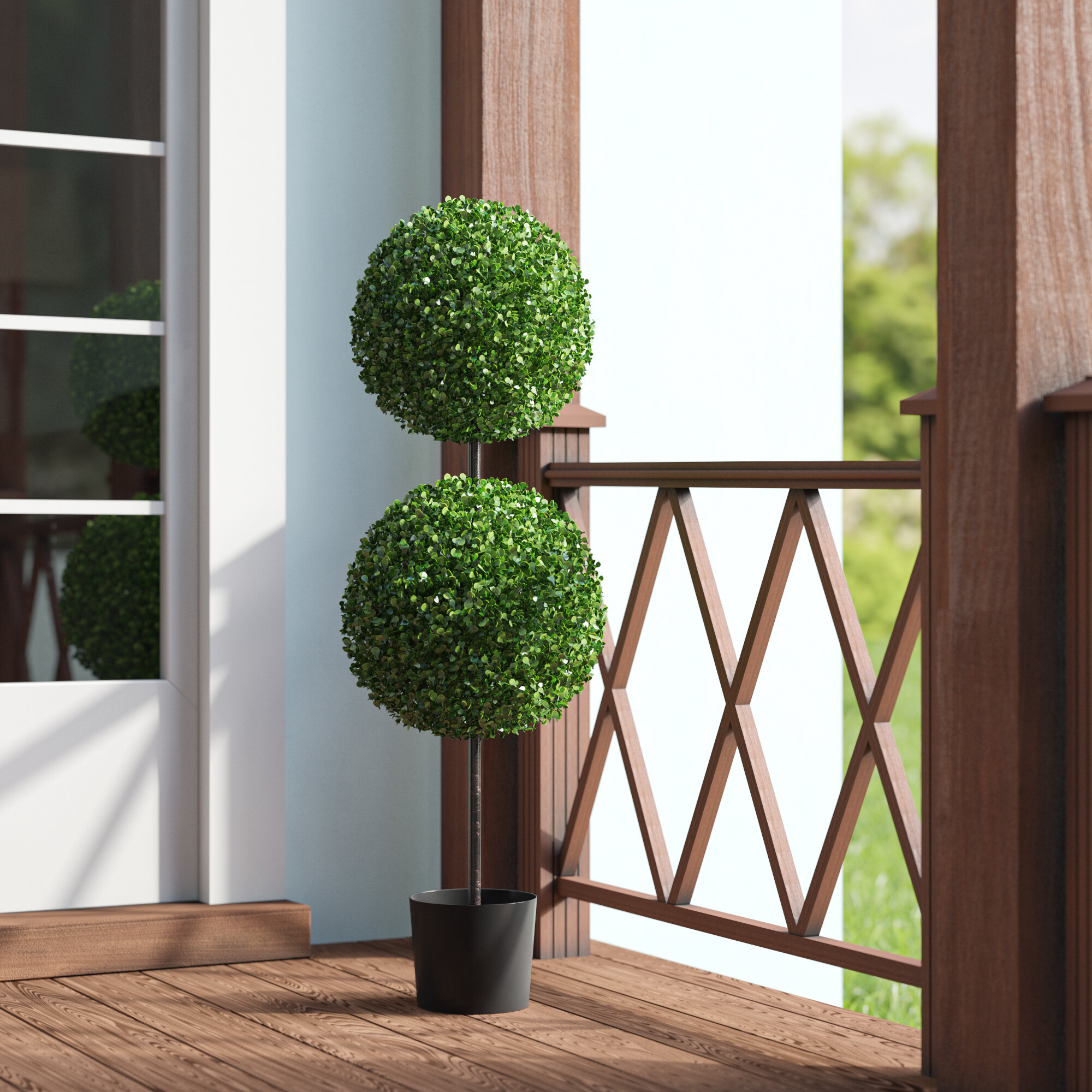 Darby Home Co Double Ball Boxwood Topiary In Planter Reviews Wayfair