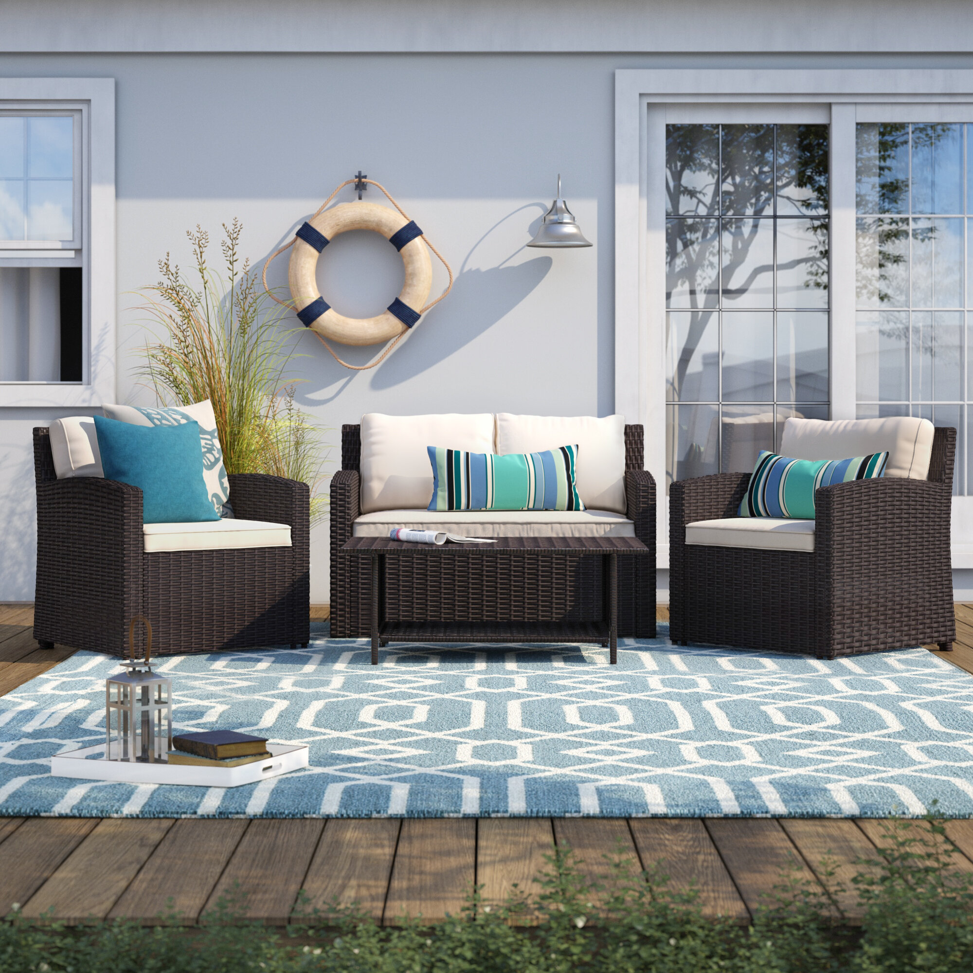 Longshore Tides Kingsbury 4 Piece Rattan Sofa Seating Group With Cushions Reviews Wayfair