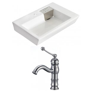 Shop for Ceramic Rectangular Vessel Bathroom Sink with Faucet and Overflow By Royal Purple Bath Kitchen