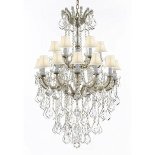 Astoria Grand Alvarado 18-Light Bell Fabric Shade Shaded Chandelier