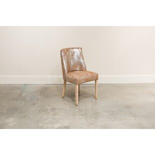Spotts Genuine Leather Upholstered Dining Chair (Set of 2) Gracie Oaks