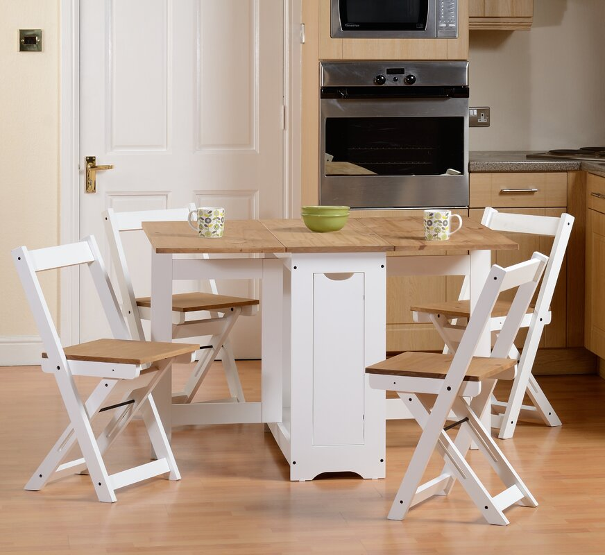 August Grove Southchase Folding Dining Set with 4 Chairs & Reviews ...