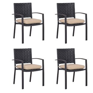 Felica Wide Patio Dining Chair with Cushion (Set of 4)