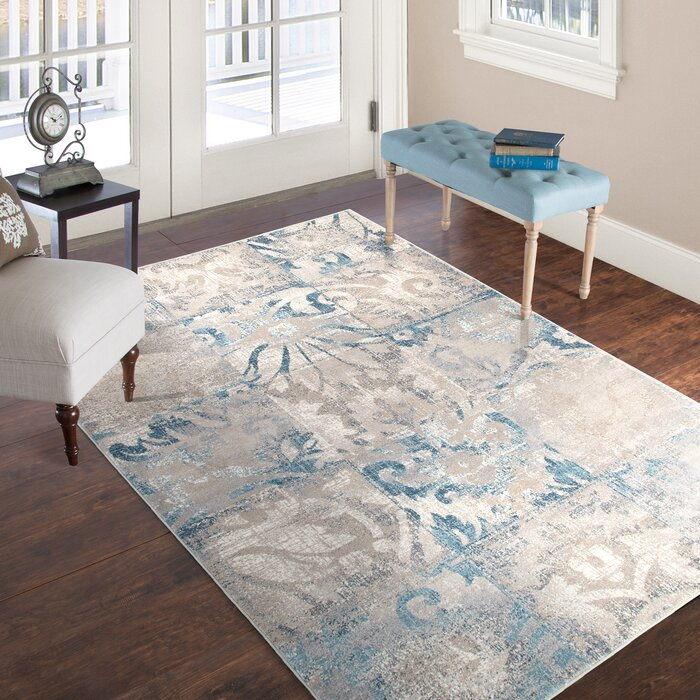Vintage Gray Blue Area Rug