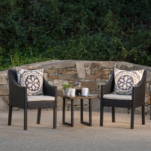 Columbard 3 Piece Rattan Conversation Set with Cushions by Charlton Home