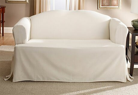Cotton Duck T Cushion Loveseat Slipcover