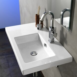 Condal Ceramic 32 Wall Mount Bathroom Sink with Overflow ByCeramica Tecla by Nameeks