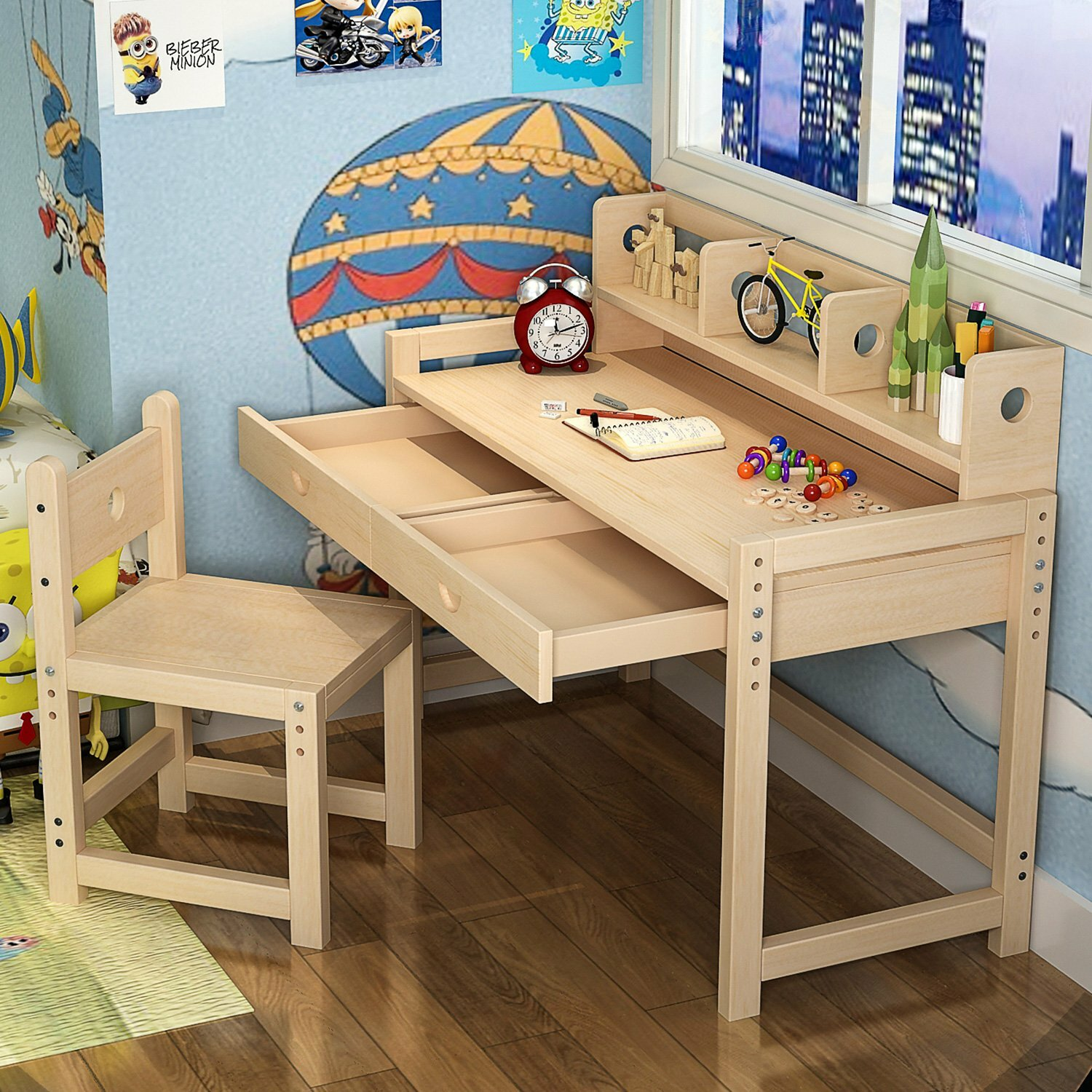Superb Willenhall Solid Wood Kid Study Desk With Chair Set Pabps2019 Chair Design Images Pabps2019Com