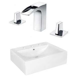 Compare Ceramic Rectangular Bathroom Sink with Faucet and Overflow By American Imaginations