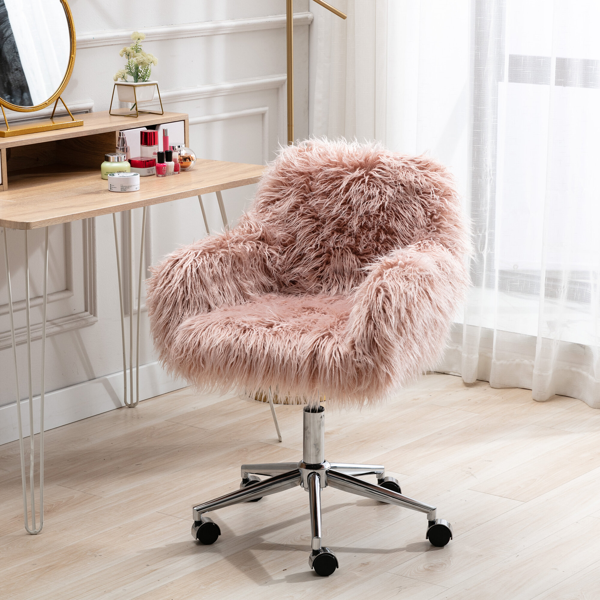 Everly Quinn Home Faux Fur Vanity Stool Chair Accent Chair Soft Furry Compact Padded Seat Vanity Living Room Bedroom And Kids Room Height Adjustable Office Chairs Wayfair Ca